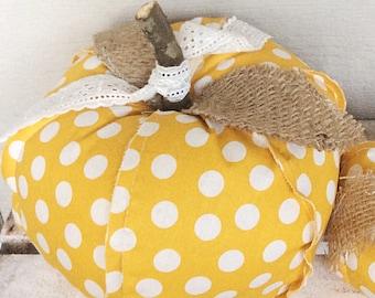 Fabric Pumpkin, Decorative Pumpkins, Fall Decor,Yellow Pumpkin, Farmhouse Decor, Rustic Decor, Decorative Pumpkin, Fall Decor, Autumn Decor