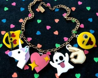 Emoji Love Acrylic Charm Necklace