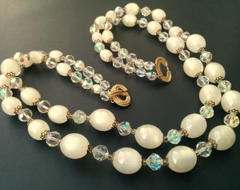 Marvella 2 Strand AB Crystal and  AB LUCITE Bead Necklace Winter White
