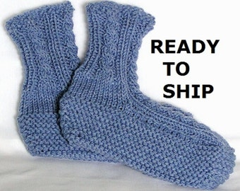 Knit Slippers Women, Blue Denim, Hand Knitted Ladies Size 9 - 10.5