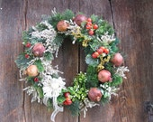 FRUIT  WREATH  VINTAGE fruit  dried flowers & pomegranates