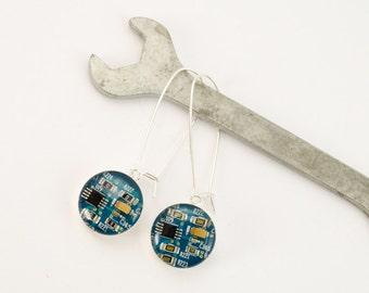 Turquoise Blue Recycled Circuit Board Earrings - Sterling Silver Dangle Earrings - Nerdy Earrings - Engineer Earrings