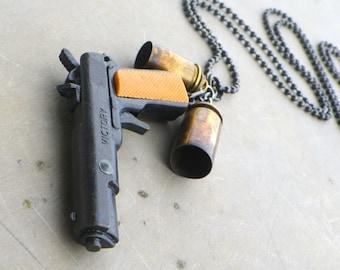toy pirate gun necklace, pistol gun necklace, men's badass bullet necklace, gun necklace unisex