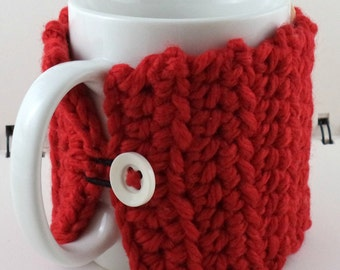 Crocheted Coffee or Ice Cream Cozy in Red with White Button (SWG-I20)