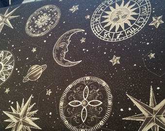 Hoffman Moon Star Sun Gazing Celestrial Black Gray Silver Metalic Cotton Fabric 1 Yard