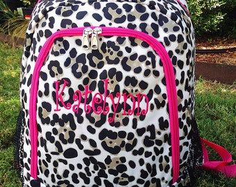 Cheetah Backpack - Leopard Backpack - Hot Pink Backpack - Personalized Backpack - Monogrammed Name or Initials of Your Choice