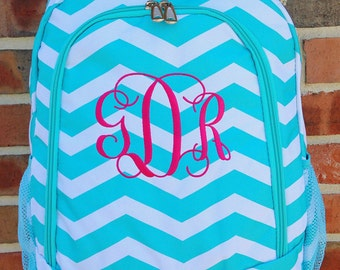 Aqua Chevron Backpack - Personalized Chevron Backpack - Personalized Backpack -Monogrammed Backpack Name or Initials of Your Choice -