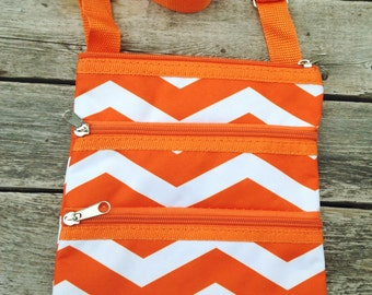 Personalized Orange Chevron Messenger Bag - Mini Ipod Purse - Tablet Purse - Personalized Cross Body Bag -Includes Name or Monogram