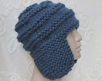 Marine denim blue earflap hat, trapper cap, knit toque, blue hat, ski snowboard, beanie hat, skateboard hiking, mens womens hat, aviator hat