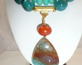 Birth of Venus - fire agate, amber resin, teal agate, carnelian and dyed jade with mixed metals necklace