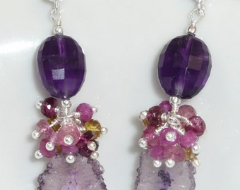 Masquerade - solar quartz, amethyst, rubies, pink and yellow tourmaline and sterling silver chandeliers