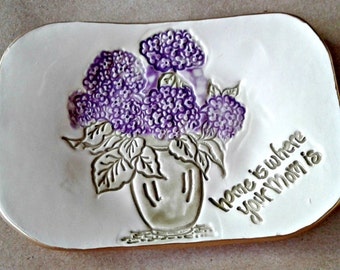 Ceramic Trinket Dish Soap Dish Hydrangea edged in gold home is where mom is