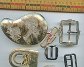 Lot of Vintage Metal Belt Buckles (6) pieces Brass Different Miscellaneous 1596