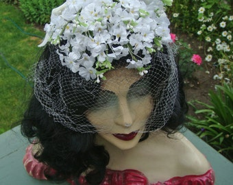Vintage Hat Cascading Floral Headpiece Veil with Velvet Bow White Bridal Hat Fascinator Netting 1960s 2551