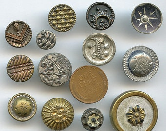Lot of Victorian Metal Buttons Wholesale Bakers Dozen (13) Small Antique MORE AVAILABLE 2002
