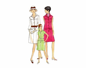 1960s Misses Semi-Fitted Aline Shirtdress Vogue 7348 Vintage Sewing Pattern Size 12 Bust 34 Uncut