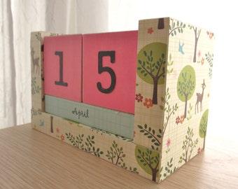 Perpetual Wooden Block Calendar - Deer Bunnies and Birds in the Woods - Pink and Sky Blue