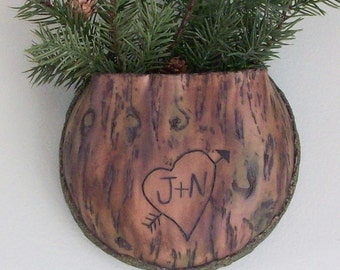 Tree Bark Wall Planter with Carved love initials: faux wood look planter