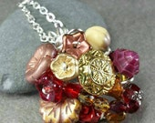 Vintage Buttons And Blooms Necklace in Crimson and Gold