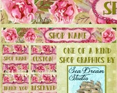 pink watercolor dream floral Etsy shop Banner and Avatar by Sea Dream Studio  OOAK