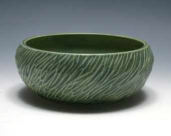Carved Bowl with Matte Green Glaze