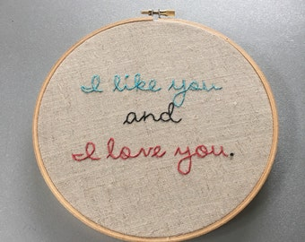 Like and Love - hand drawn and embroidered Parks & Recreation quotation wall hanging