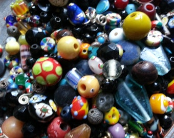 End of Day Beads ... Six Ounces Mixed, Mostly Glass, Beads