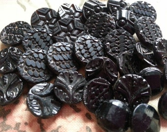 28 Small Black Glass Buttons, Vintage, Self Shanking, Carved