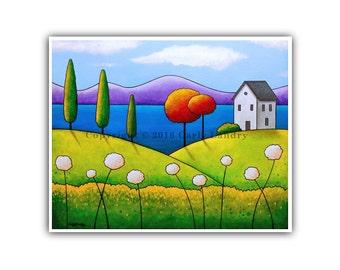 House & Lake Art Print, Joyful Abode - Minimalist Modern Contemporary Artwork Bold Bright Surreal Style, Size Options 8x10 11x14 16x20 20x24
