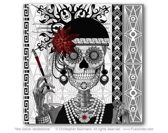 Flapper Girl Sugar Skull 30x30 Art Canvas - Mrs Gloria Vanderbone - Art Deco Dia De Los Muertos Canvas - Black and White Sugar Skull Art