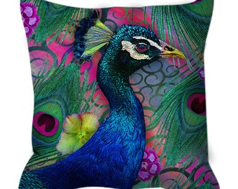 "Colorful Peacock Throw Pillow - Floral Art Pillow - Boho Home Decor - ""Nemali Dreams"" by artist Christopher Beikmann"