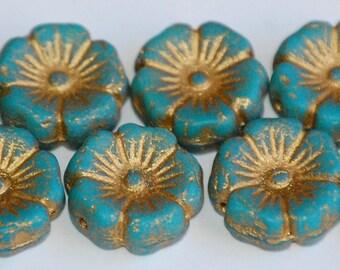 12mm HAWAIIAN TURQUOISE Matte Bronze Czech Flower Beads (8 Beads) LEA15