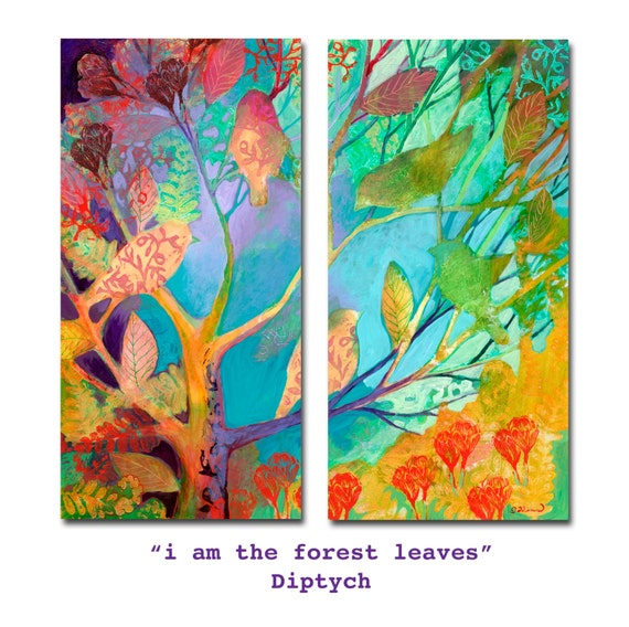 i am the forest leaves diptych - in 2 parts - Prints on Paper or Wood by Jenlo