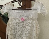 SALE!  Short Cropped Lace Top Vintage Lace Repurposed Shabby Magnolia Style Womens