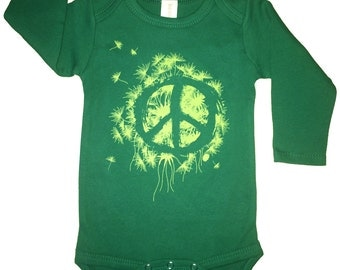 Hipster Baby Clothes, Gender neutral baby clothes, st patricks day shirt, Baby Girl Onesie, Baby Boy, Peace Baby Organic Long Sleeves Onesie