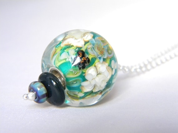 Rainforest Long Necklace - Lampwork Glass and Sterling Silver