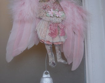 Angel girl*Pink real feathered wings*dazzling star*German diamond dust*Bells
