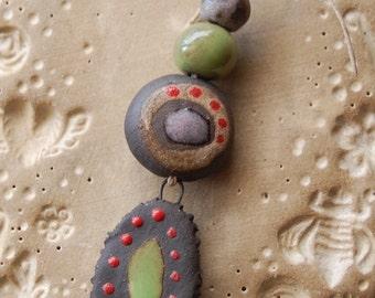 Evil Eye / Ceramic Pendant and Bead Set