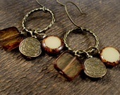 Brown and ivory czech glass, shell and antique brass charm handmade earrings