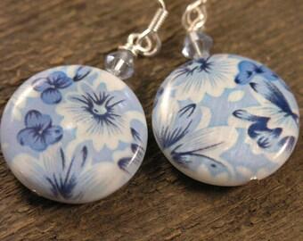 Blue flower earrings on large genuine shell beads, glass and silver handmade earrings