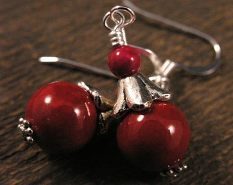SALE Red shell beads and fossilized dinosaur bone beads handmade silver earrings
