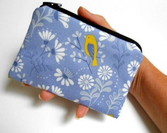 Bird Zipper Pouch Little Coin Purse ECO Friendly Padded Little Bird on Blue