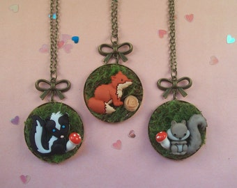 Woodland Creature Cameo Necklaces