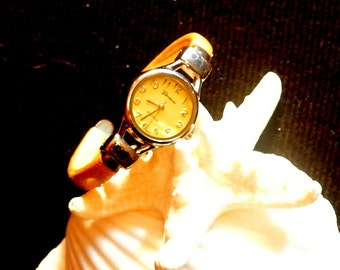 Ladies Geneva Watch, Vintage Platinum Watch White Cuff Bracelet, Working Ladies Watch