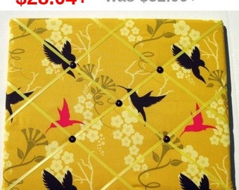 Back To School Humming Birds on Mustard Memory Board French Memo Board, Fabric Ribbon Memo Bulletin Board, Fabric Photo Board, Pin Board,...