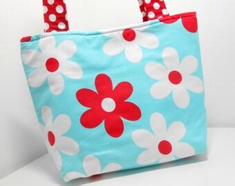 Red White and Aqua Floral Medium Tote Bag Aqua Medium Purse with Pockets