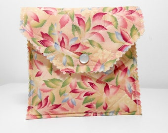 Quilted Fabric Snap Pouch, Fabric Envelope, Stationary Pouch with Cards