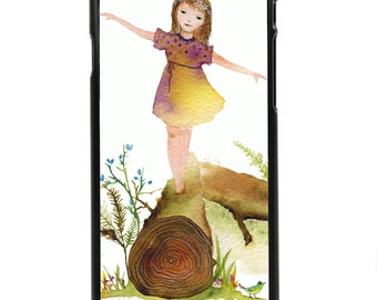 """Phone Case """"Balance"""" - Little Girl, Nature, Balancing on a Log, Squirrel, Kids By Olga Cuttell"""