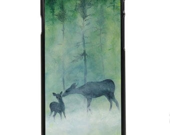 """Phone Case """"Deer"""" - Fine Art Print Bambi Mother Daughter Baby Fawn Foggy Mist Green Forest Mothers Day Gift By Olga Cuttell"""