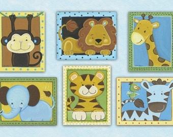 Set of 6 Jungle Tales/ Jungle Animals Nursery/Baby/Kids Wall Art Prints.